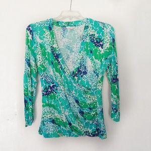 CAbi Blue Green Splash Print Style 966 Size XL